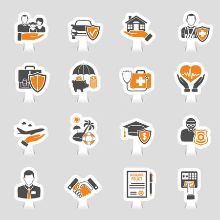 Icons of insurance sticker set for poster, web site, advertising like house, car, medical and business vector illustration. Stock Illustratie