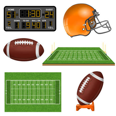 American Football Realistic Icons with Field, Ball, Goal, Helmet, Scoreboard. Isolated vector illustration
