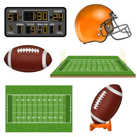 American Football realistische Symbole mit Feld, Ball, Tor, Helm, Anzeiger. Isolierte Vektor-Illustration Vektorgrafik