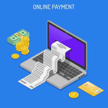 Laptop with Check, Credit Cards and Money. Internet Shopping and Online Electronic Payments Concept. Isometric icons. Isolated vector illustration