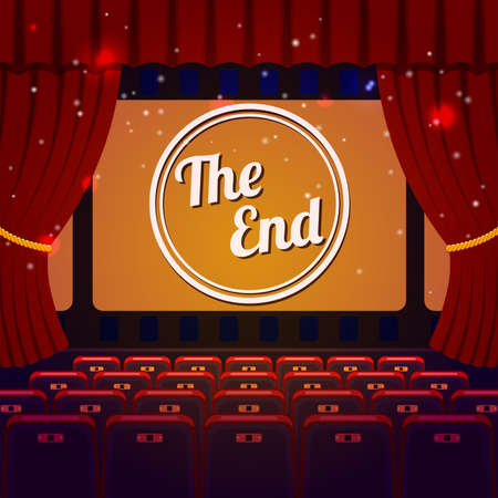 End Show Concept. Cinema and Theater hall with seats, curtain and The End on screen Vector illustration