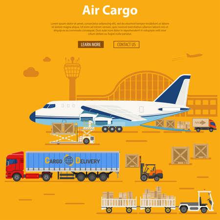 Consegna e logistica del carico aereo con icone piane camion, aeromobili, aeroporto, rimorchiatore e carrello elevatore. Illustrazione vettoriale Archivio Fotografico - 97378995