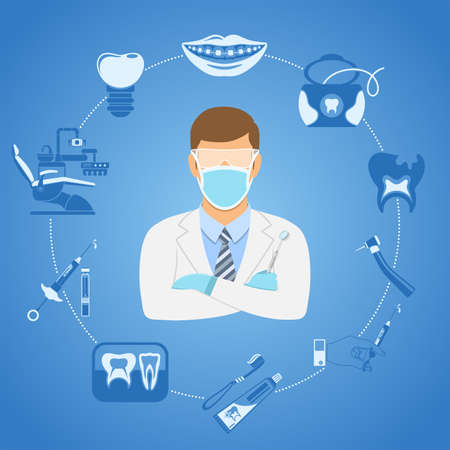 Dental Clinic Concept with flat two color icons dentist chair, dentist doctor, braces, cartridge syringe and dental tools. Isolated vector illustration