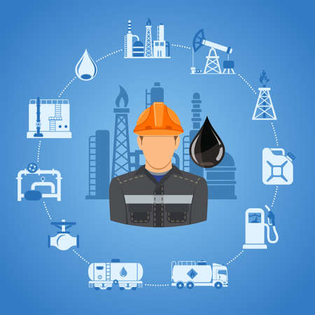 Oil industry Concept with two color Flat Icons extraction production and transportation oil and petrol with oilman, rig and barrels. Isolated vector illustration.