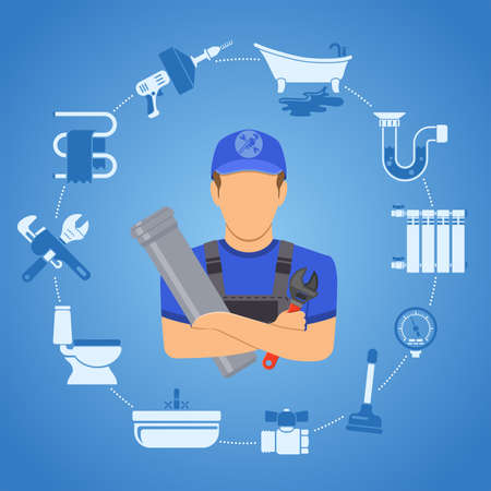 Plumbing Service Infographics Repair and Cleaning with Plumber, Tools and Device two color Flat Icons. Vector illustration
