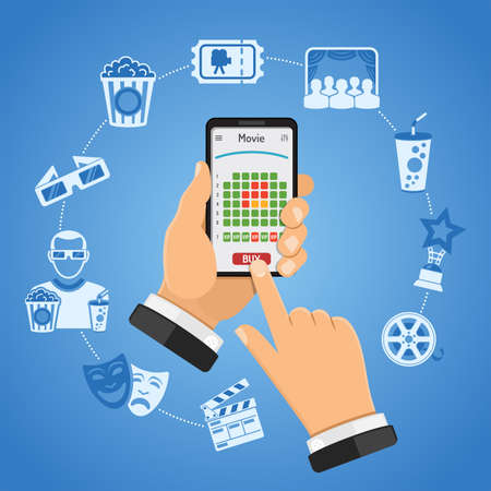 Concepts online cinema ticket scheduling with Man holding smartphone vertically in hand and buys ticket in movie app. Isolated vector two color flat icon illustration  イラスト・ベクター素材