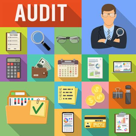 Auditoría, impuestos, negocios iconos planos de contabilidad establecidos en cuadrados de colores con sombras largas. Auditor sostiene lupa en mano, gráficos, calculadora y teléfono inteligente. Ilustración vectorial