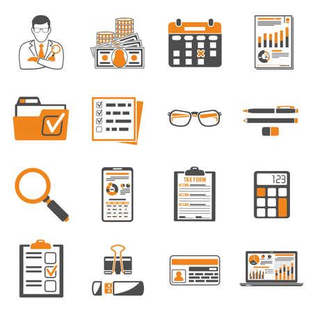 Stel auditing, belastingprocesberekening, zakelijke boekhouding twee gekleurde pictogrammen in in vlakke stijl. Rekenmachine, vergrootglas, accountant, financiële rapporten en belastingformulier. Geïsoleerde vectorillustratie
