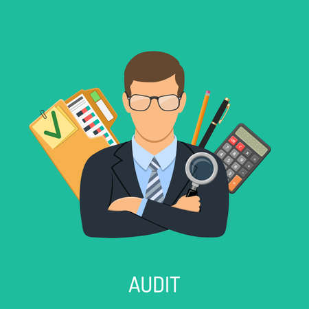 Auditing, Tax, Business Accounting Concept. Auditor Holds Magnifying Glass in Hand and Checks Financial Report with Charts, Calculator and folder. Flat Style Icons. Isolated vector illustration Stock Illustratie