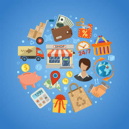 Shopping and Delivery Concept. Flat Style Icons shop, sale, storage and money. Isolated vector illustration Vettoriali