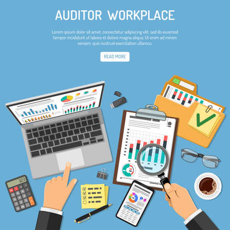Auditor Workplace, Auditing, Business accounting Concept. Auditor holds magnifier in hand and checks financial report. Flat style icons. Isolated vector illustration