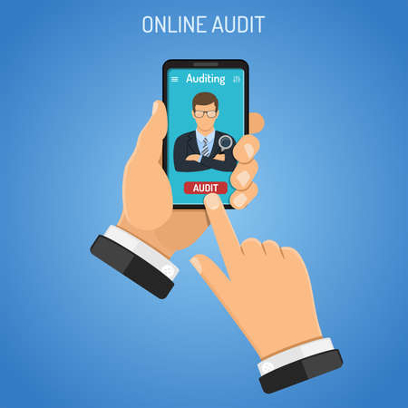 Online Auditing, Tax process, Business Accounting Infographics. Businessman Holds Smartphone in hand and orders audit. Flat Style Icons. Isolated vector illustration