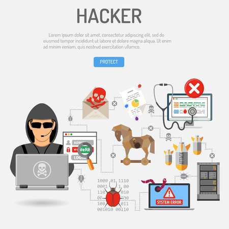 Cyber Crime Concept with flat icons for Flyer, Poster, Web Site, Printing Advertising Like Hacker, Virus, Bug, Error, Spam. Isolated vector illustration Illustration