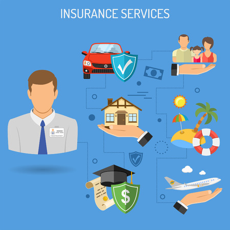 Insurance Services Banner for Poster, Web Site, Advertising like House, Car, Medical, Family and Travel Insurance. Flat Icons. Isolated vector illustration Vectores
