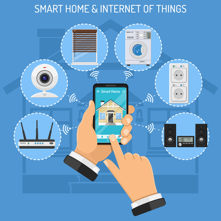 Smart Home and internet of things concept with flat icons. Man holding smartphone in hand and controls smart home devices like security camera, router, music center. Isolated vector illustration