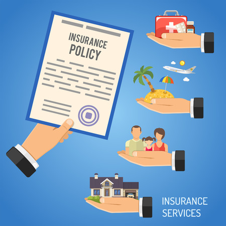 Insurance Services Concept with Flat Icons for Poster, Web Site, Advertising like House, Car, Medical, Travel and Family insurance. Isolated vector illustration