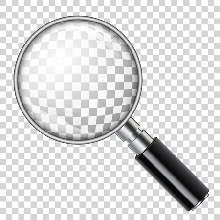 3D Realistic Magnifying Glass (Loupe) on transparent background. isolated vector illustration