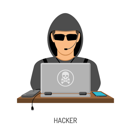 Cyber Crime and Internet Security Concept with flat style icons Hacker, laptop, smartphone. Isolated vector illustration Illustration