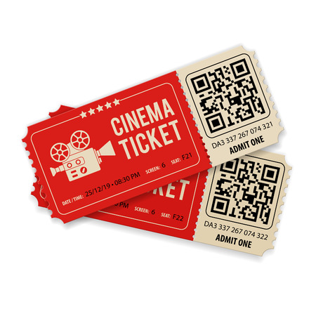 Set of Two Cinema Tickets with Camera, flat style icons, isolated vector illustration Ilustrace