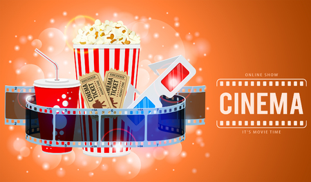 Cinema and Movie time Banner with flat icons transparent film, popcorn, drink in paper cup, 3d glasses and tickets. Isolated vector illustration