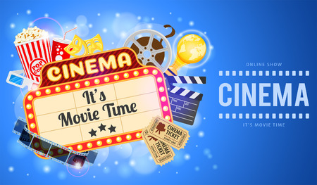 Cinema and Movie time Banner with flat icons transparent film, popcorn, signboard, masks, award and tickets. Vector illustration