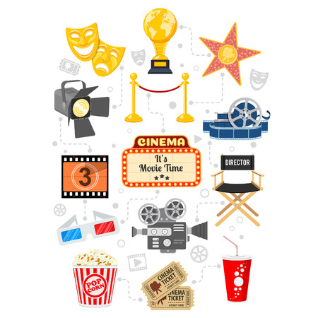 Cinema and Movie infographics with Flat Icons Set popcorn, award, 3D glasses, tickets. Isolated vector illustration