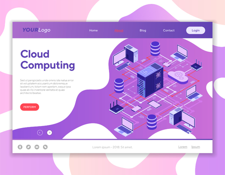 Data Network Cloud Computing Technology Isometric business concept with network server, computer, laptop, router and database. Landing page template. Storage and transfer data. Vector illustration