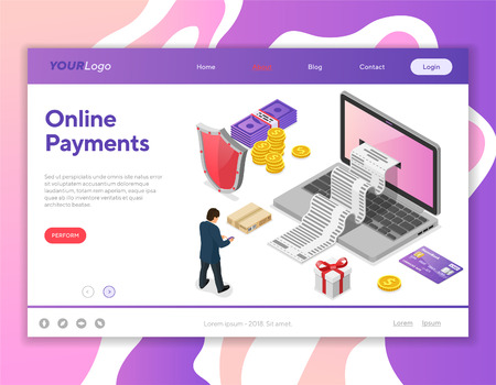 Laptop with Receipt, Money, User. Internet Shopping and Online Electronic Payments Concept. Isometric icons. Landing page template. Isolated vector illustration Vettoriali