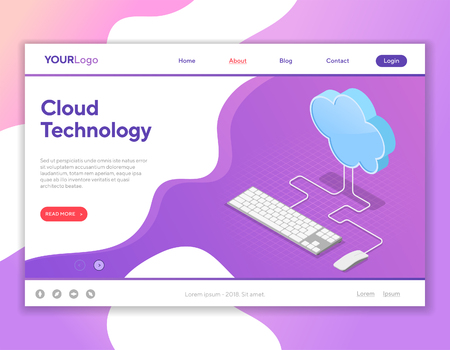 Data Network Cloud Computing Technology Isometric business concept with keyboard, mouse and cloud. Landing page template. Vector illustration Illustration