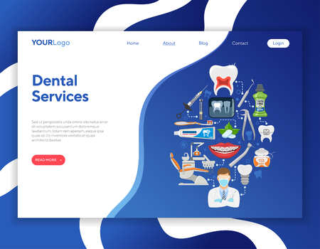 Dental Services Infographics with Oral Hygiene and Dental Clinic. Icons in Flat Style Doctor, Dentist Chair, Tooth and Braces. Landing page template. Vector illustration  イラスト・ベクター素材