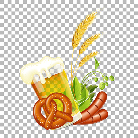Oktoberfest Beer Festival Celebration Poster with Glass of lager Beer, Barley, Pretzels, Sausages and Hops. Vector illustration on transparent background Archivio Fotografico - 110122650