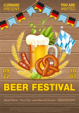 Oktoberfest Beer Festival Celebration Poster with Barrel, Glass of lager Beer, Barley, Hops, Pretzels, Sausages and Ribbon. Vector illustration on wood texture background Vettoriali