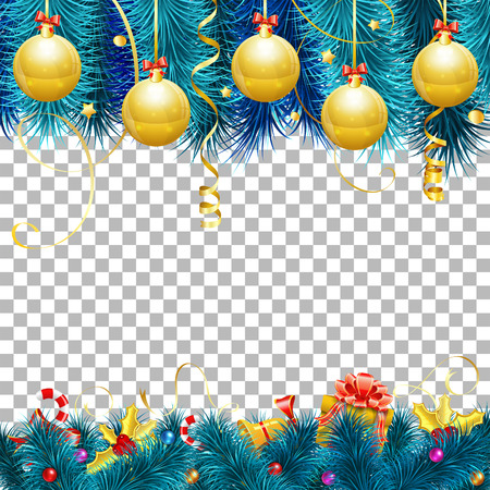 Christmas and New Year Frame with Baubles, Fir Branches, Gold Streamer, Candy, Gift and Confetti. Vector isolated on transparent background