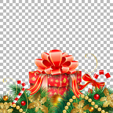 christmas and new year banner with gift fir branches gold streamer and candy
