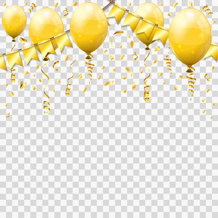Gold Streamer and golden confetti, twisted ribbons, balloons, flags. Birthday, Carnival, Christmas, Party, New Year Decoration. Isolated vector illustration on transparent background Ilustração