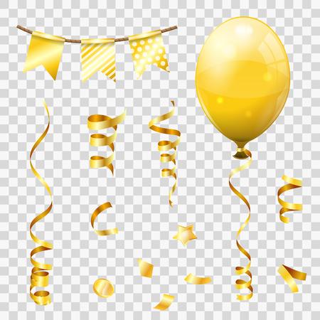 Banderoles dorées et confettis dorés, rubans torsadés, ballons, drapeaux. Anniversaire, Carnaval, Noël, Fête, Décoration du Nouvel An. Illustration vectorielle isolé sur fond transparent