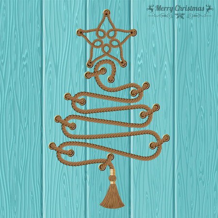 Merry Christmas and Happy New Year Concept. Decorative Christmas Tree from Ropes with Rivets and Star on Wooden Boards background. Vector illustration Vectores