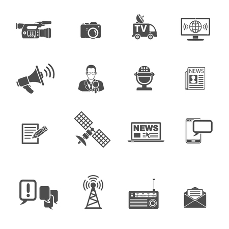 Media and News Icons Set with Journalism, Television, Newspaper and SMS. Isolated vector illustration Stock Illustratie