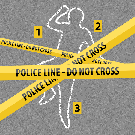 Crime scene contour body with chalk on asphalt texture. Yellow police line over chalk outline dead body. Vector illustration