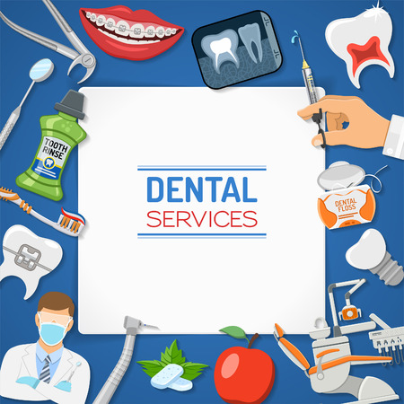 Dental Services Dentistry Hygiene banner and frame with flat icons dentist chair, braces, x-ray, cartridge syringe, implant, Dentistry tools and tooth rinse. isolated vector illustration Vector Illustration
