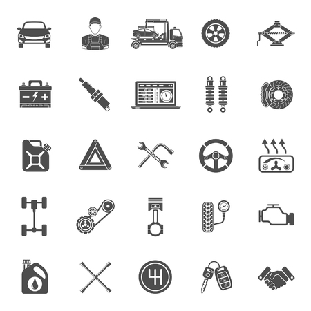 Car service icons set. diagnostics, car repair, tire service for poster, web site, advertising like laptop, battery, jack, mechanic. isolated vector illustration