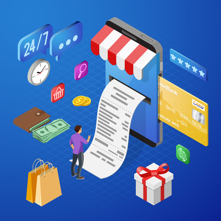 Smartphone with Receipt, Money, People. Internet Shopping and Online Electronic Payments Concept. Isometric icons. vector illustration