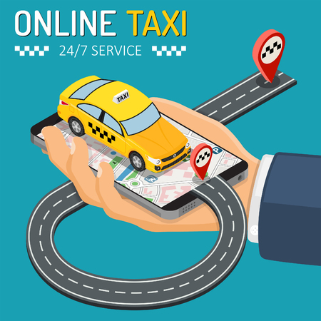 Hand with smartphone, taxi car, road and route pin. Online taxi 247 service concept. isometric icons. isolated vector illustration