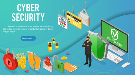 Cyber security isometric banner. Hacking and phishing. Guard protects computer from hacker attacks like steals password, credit card and email. Internet Security vector with isometric icons people