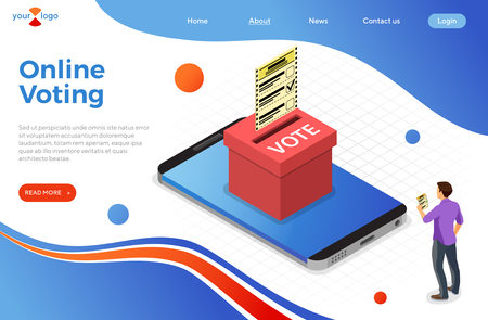 Smartphone with ballot box, voter and ballot paper. Internet Online Electronic voting Concept. Isometric icons. landing page template. vector illustration