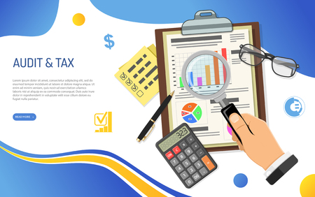 Auditing, Tax process calculation, Accounting, analysis data Concept. Clipboard with checked financial report, hand with magnifying glass and calculator flat icons. Isolated vector illustration