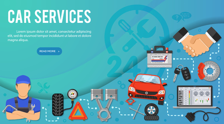 Car Services Concept for Booklet, Web Site, Advertising with Flat Icons like laptop, handshake, battery, car jack and mechanic. vector illustration