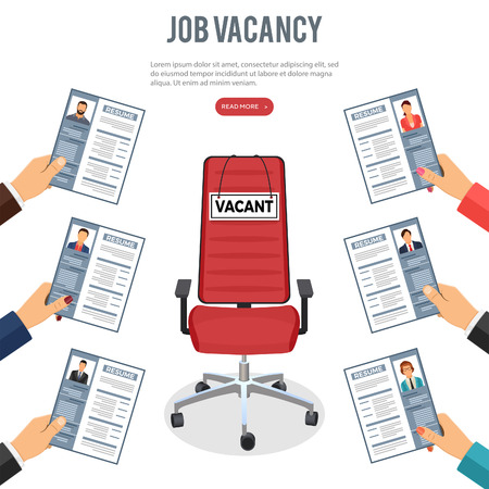 Job agency employment, human resources and hiring concept. Hands job seekers, applicants for position holds resume. office chair with sign vacant. isolated vector illustration Ilustração