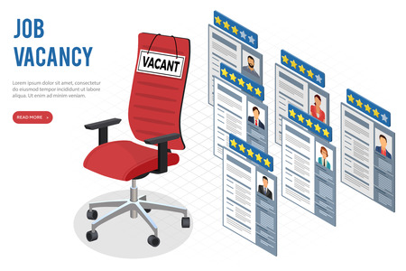 Isometric job agency employment, human resources, resume and hiring concept. CVs applicants for vacancies. office chair with sign vacant. isolated vector illustration