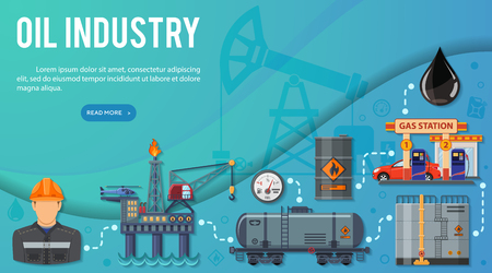 Oil industry Banner Infographics with Flat Icons extraction production and transportation oil and petrol with oilman, rig and barrels. vector illustration.